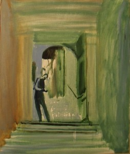 Man-texting-in-a-Doorway-in-Rome